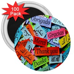 Thank You,danke Merci 3  Magnets (100 Pack)