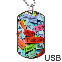 Thank You,danke Merci Dog Tag Usb Flash (two Sides)
