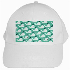 Whale Sea Blue White Cap by AnjaniArt