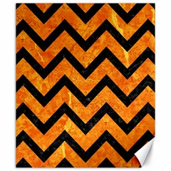 Chevron9 Black Marble & Orange Marble (r) Canvas 20  X 24