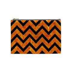 Chevron9 Black Marble & Orange Marble (r) Cosmetic Bag (medium) by trendistuff