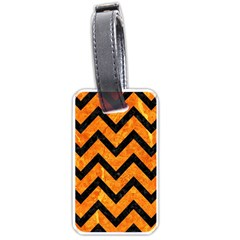 Chevron9 Black Marble & Orange Marble (r) Luggage Tag (two Sides) by trendistuff