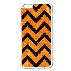 Chevron9 Black Marble & Orange Marble (r) Apple Iphone 6 Plus/6s Plus Enamel White Case by trendistuff