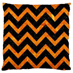 Chevron9 Black Marble & Orange Marble Large Cushion Case (two Sides) by trendistuff
