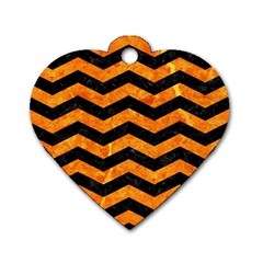 Chevron3 Black Marble & Orange Marble Dog Tag Heart (two Sides) by trendistuff