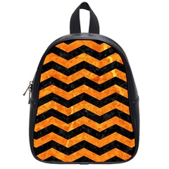 Chevron3 Black Marble & Orange Marble School Bag (small) by trendistuff