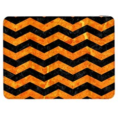 Chevron3 Black Marble & Orange Marble Samsung Galaxy Tab 7  P1000 Flip Case by trendistuff