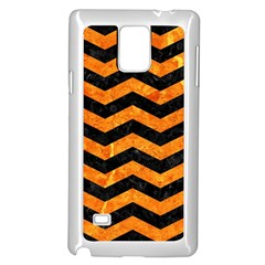 Chevron3 Black Marble & Orange Marble Samsung Galaxy Note 4 Case (white) by trendistuff
