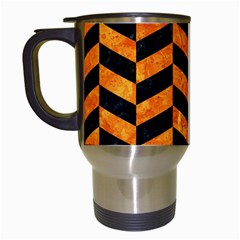 Chevron1 Black Marble & Orange Marble Travel Mug (white) by trendistuff