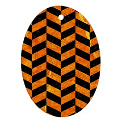 Chevron1 Black Marble & Orange Marble Oval Ornament (two Sides)