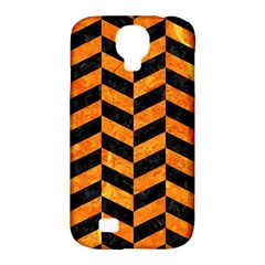 Chevron1 Black Marble & Orange Marble Samsung Galaxy S4 Classic Hardshell Case (pc+silicone) by trendistuff