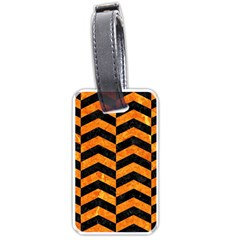 Chevron2 Black Marble & Orange Marble Luggage Tag (one Side) by trendistuff
