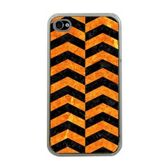 Chevron2 Black Marble & Orange Marble Apple Iphone 4 Case (clear) by trendistuff