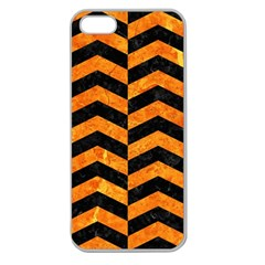 Chevron2 Black Marble & Orange Marble Apple Seamless Iphone 5 Case (clear) by trendistuff