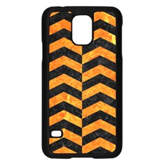 Chevron2 Black Marble & Orange Marble Samsung Galaxy S5 Case (black) by trendistuff