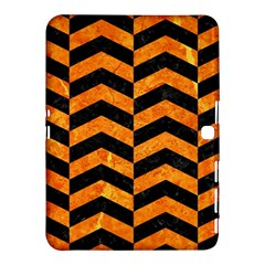Chevron2 Black Marble & Orange Marble Samsung Galaxy Tab 4 (10 1 ) Hardshell Case  by trendistuff