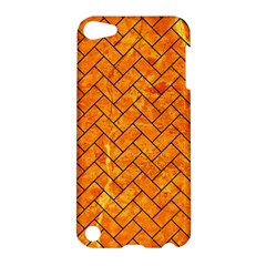 Brick2 Black Marble & Orange Marble (r) Apple Ipod Touch 5 Hardshell Case by trendistuff