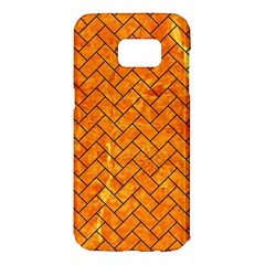 Brick2 Black Marble & Orange Marble (r) Samsung Galaxy S7 Edge Hardshell Case by trendistuff