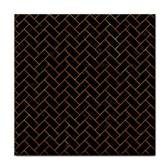 Brick2 Black Marble & Orange Marble Tile Coaster by trendistuff