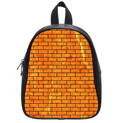Brick1 Black Marble & Orange Marble (r) School Bag (small) by trendistuff