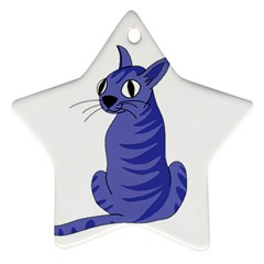 Blue Cat Ornament (star)  by Valentinaart