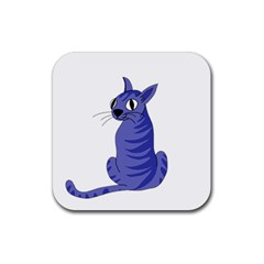 Blue Cat Rubber Coaster (square)  by Valentinaart