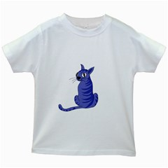 Blue Cat Kids White T Shirts by Valentinaart