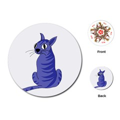 Blue Cat Playing Cards (round)