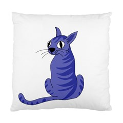 Blue Cat Standard Cushion Case (one Side) by Valentinaart