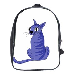 Blue Cat School Bags(large)  by Valentinaart