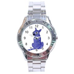 Blue Cat Stainless Steel Analogue Watch by Valentinaart
