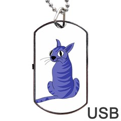 Blue Cat Dog Tag Usb Flash (one Side) by Valentinaart