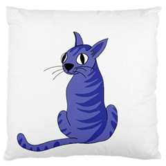 Blue Cat Standard Flano Cushion Case (two Sides) by Valentinaart