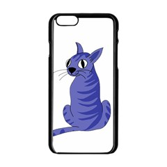 Blue Cat Apple Iphone 6/6s Black Enamel Case by Valentinaart