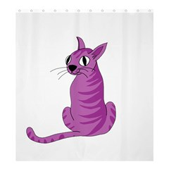 Purple Cat Shower Curtain 66  X 72  (large)  by Valentinaart