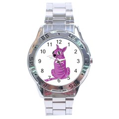 Purple Cat Stainless Steel Analogue Watch by Valentinaart