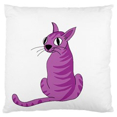 Purple Cat Large Flano Cushion Case (one Side) by Valentinaart