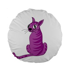 Purple Cat Standard 15  Premium Flano Round Cushions by Valentinaart