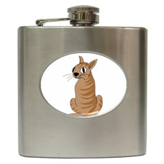 Brown Cat Hip Flask (6 Oz) by Valentinaart