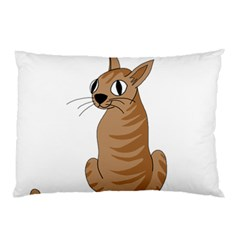 Brown Cat Pillow Case by Valentinaart