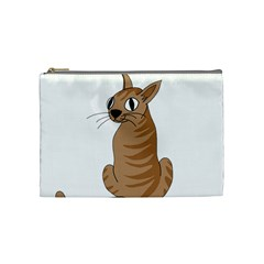 Brown Cat Cosmetic Bag (medium)  by Valentinaart