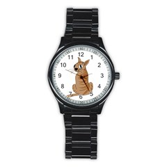Brown Cat Stainless Steel Round Watch by Valentinaart