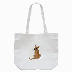 Brown Cat Tote Bag (white) by Valentinaart