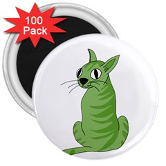 Green Cat 3  Magnets (100 Pack) by Valentinaart
