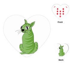 Green Cat Playing Cards (heart)  by Valentinaart
