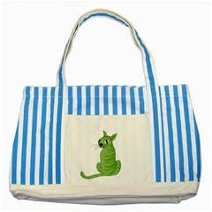Green Cat Striped Blue Tote Bag by Valentinaart