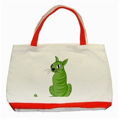Green Cat Classic Tote Bag (red)