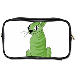Green Cat Toiletries Bags 2 Side by Valentinaart