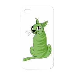 Green Cat Apple Iphone 4 Case (white)