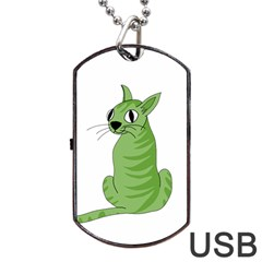 Green Cat Dog Tag Usb Flash (one Side) by Valentinaart